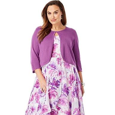 1aff1c1ba2e Jessica London Women s Plus Size Curved Hem Sweater Shrug at Amazon Women s  Clothing store