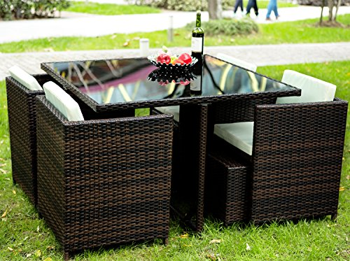 Merax 9 Pc Modern Indoor/Outdoor All Weather PE Wicker Rattan Table Patio Set Gardern Furniture Dining Sets