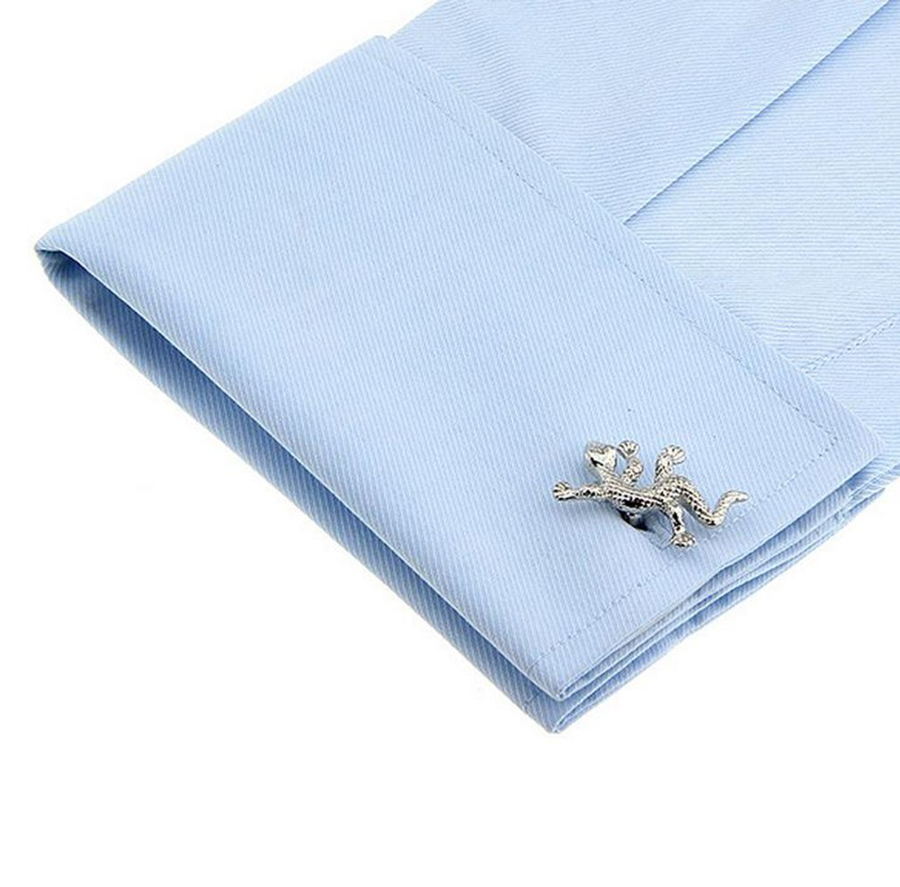 Hosaire Men's Cufflinks Gecko Cuff Link Delicate Cuff-link for Wedding Party Golden by Hosaire (Image #4)