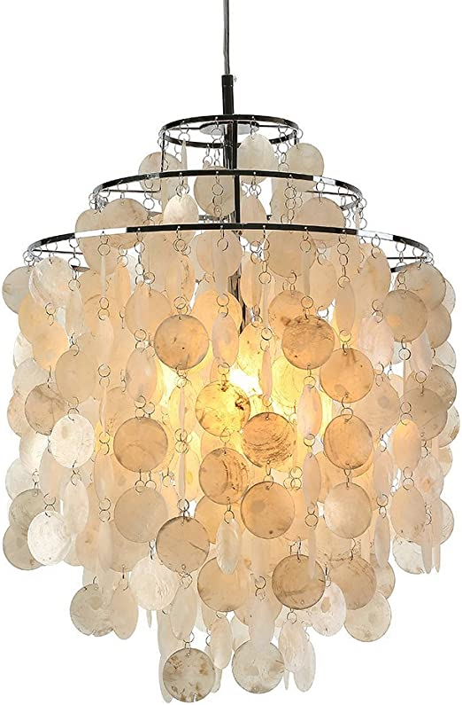 Chicstyleme Ceiling Lights Modern Chandelier White Shell Pendant Lights Lamp With 1 Light Amazon Co Uk Lighting