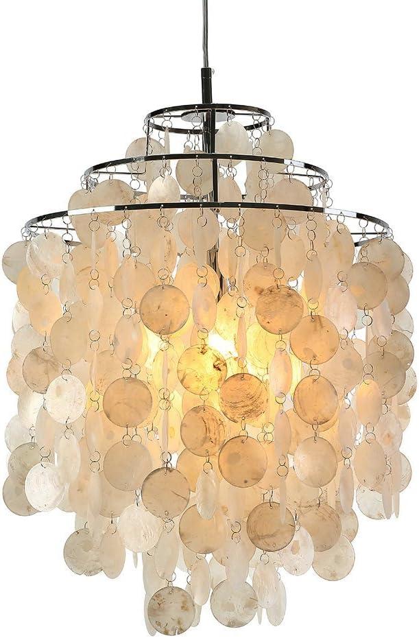 Modern White Capiz Shell Chandeliers Living Room LED Pendant Lamps Kitchen Fixtures Luminaire Nordic Hanging Lamp Lightingt