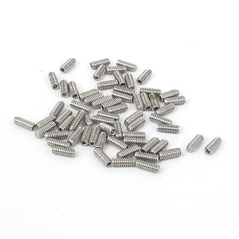 sourcingmap® M2x5mm hexagonal de acero inoxidable Set punto tapa tornillos prisioneros de tono Plata 50pcs