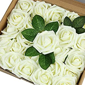 Fivejorya 25pcs Ivory Artificial Roses Flowers With Stems Real Looking Fake Roses for DIY Wedding Bouquets Centerpieces Arrangements Birthday Home Party Decor Favor 70