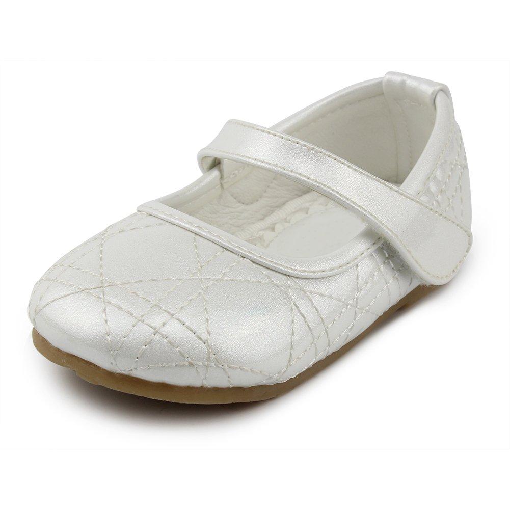 Chiximaxu Maxu Toddler Girl's Slip-on Dressy Ballerina Flat Shoes,Beige,Toddler 5.5M