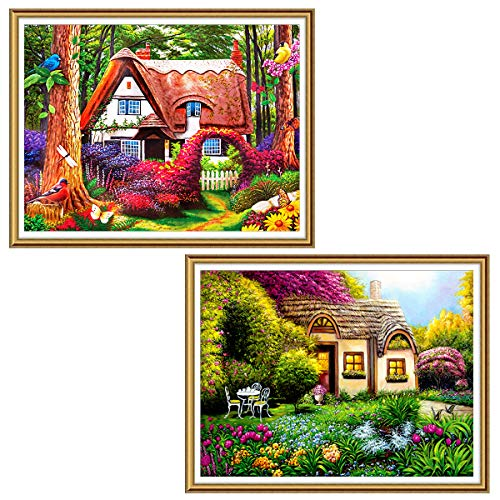 2 Pack DIY 5D Diamond Painting Fairy Tale House by Number Kits, Ginfonr Gnome Home Crystal Country Scenes Paint with Diamonds Full Drill Art Picture Decor 12x16 inch