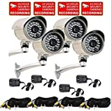 VideoSecu 4 Pack Built-in 1/3'' SONY CCD Bullet Security Cameras Outdoor Indoor Weatherproof Night Vision IR Infrared CCTV Camera with Free Power Supplies and Video Extension Cables WR6