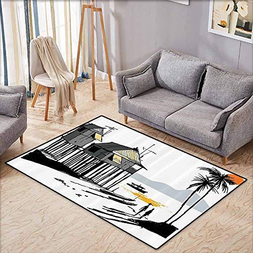 Custom Rug,Coastal Decor,Sketchy Fishing Village Malay in Singapore with Houses Canoe Palms Sun,Anti-Slip Doormat Footpad Machine Washable,4'11