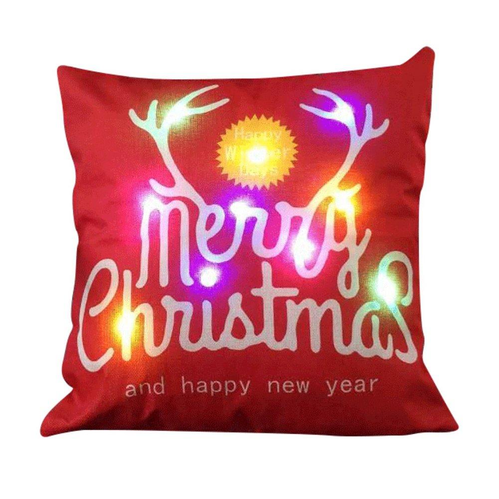 Merry Christmas LED Throw Pillow Case,Shiningup Cushion Cover with Lighting Santa Claus Elk Sleigh Snowflake Christmas Tree Joy Wreath Jingling Bell Sock for Sofa Home Decor