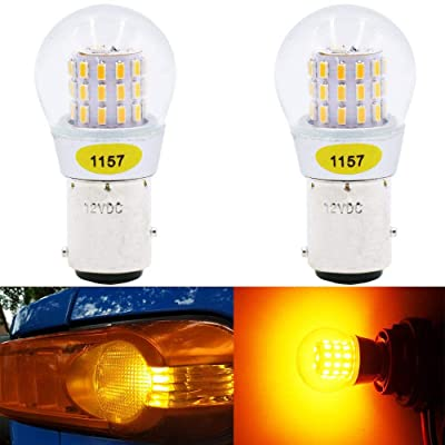 Alopee - 2-Pack 12-15V DC Extremely Bright Yellow/Amber 1157 2057 2357 7528 BAY15D P21/5W 39SMD LED Bulbs Replacement for Halogen lamp Blinker Turn Signal Lights Parking Light: Automotive