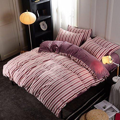 寝具布団カバー 秋と冬の暖かい両面クリスタルベルベットヨーロッパのベッドリネン寝具4ピーススーツ、ピンクのコーヒーストライプ、220 * 240 cm 超ソフト低刺激性