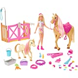 Barbie Groom 'n Care Horses Playset Doll (Blonde 11.5-in), 2 Horses & 20+ Grooming and Hairstyling Accessories, Gift for 3 to