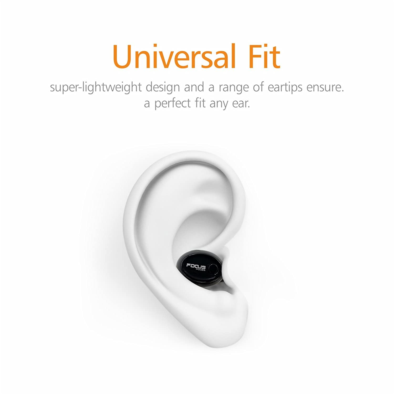 FOCUSPOWER F10 Mini Bluetooth Earbud Smallest Wireless Invisible Headphone  with 6 Hour Playtime Car Headset with Mic for iPhone and Android Smart