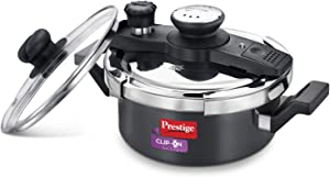Prestige Hard Anodised Aluminum Pressure Cooker with Glass Lid, 2 Litres, Black