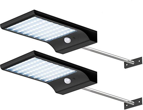 CREATIVE DESIGN Solar Lights Outdoor, 80 LED Gutter Solar Lights with Mounting Pole Motion Lights for Patio Barn Garage, Pack of 2