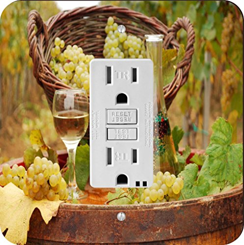 Rikki Knight 1954 White Wine Glasses with grapes Design Light Switch Plate by Rikki Knight