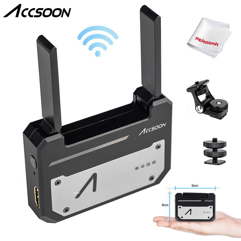 Accsoon CineEye 1080p WiFi HDMI Transmitter 5G Wireless Image Transmission to 4 Devices in a Distance of 100m, Support Android & iOS, RGB, 3D LUT Loading, W/Cold Shoes Mount Monitor Holder by Accsoon