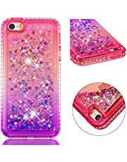 for iPhone 5/5S/SE Case Glitter Liquid and Screen Protector,QFFUN Bling Sparkle Quicksand Gradient Colors Design Shiny Diamond Frame Clear Slim Fit Protective Phone Case Bumper - Pink and Purple