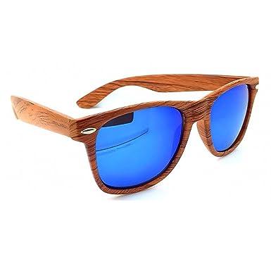 Unisexe pour effet de bois-WOOD ® KISS de lunettes de soleil Wayfarer en miroir ligne-male femelle FIRE VINTAGE - NATURAL WOOD / Bleu Q7eARDgEtj