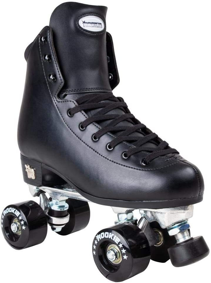 Artistic New Rookie Figure Quad Roller Skates Black Package With Skate Bag By Olis
