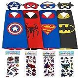 Superhero Dress Up Costumes For Boys - 4 Satin Capes & Felt Masks, Free Bonus - 4 Superhero Stickers by 1ELEGANT