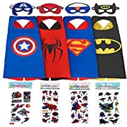 #LightningDeal 90% claimed: Superhero Dress Up Costumes For Boys - 4 Satin Capes & Felt Masks, Free Bonus - 4 Superhero Stickers by 1ELEGANT