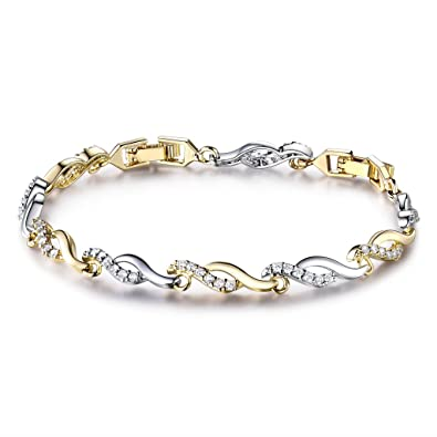 Bracelet ondulant Swarovski pour femme orné de pierre, en or et argent joli mariage.