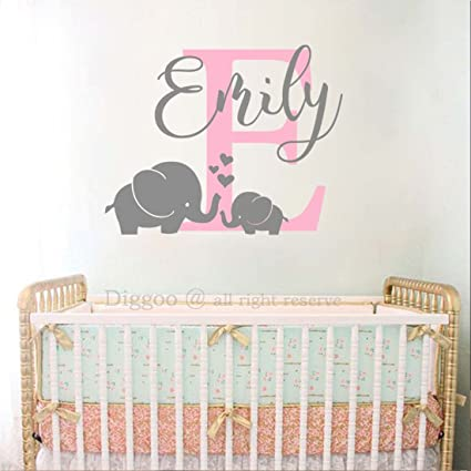 c17362a744f25 Amazon.com: Elephant Name Monogram Wall Decal Personalized Baby Name ...