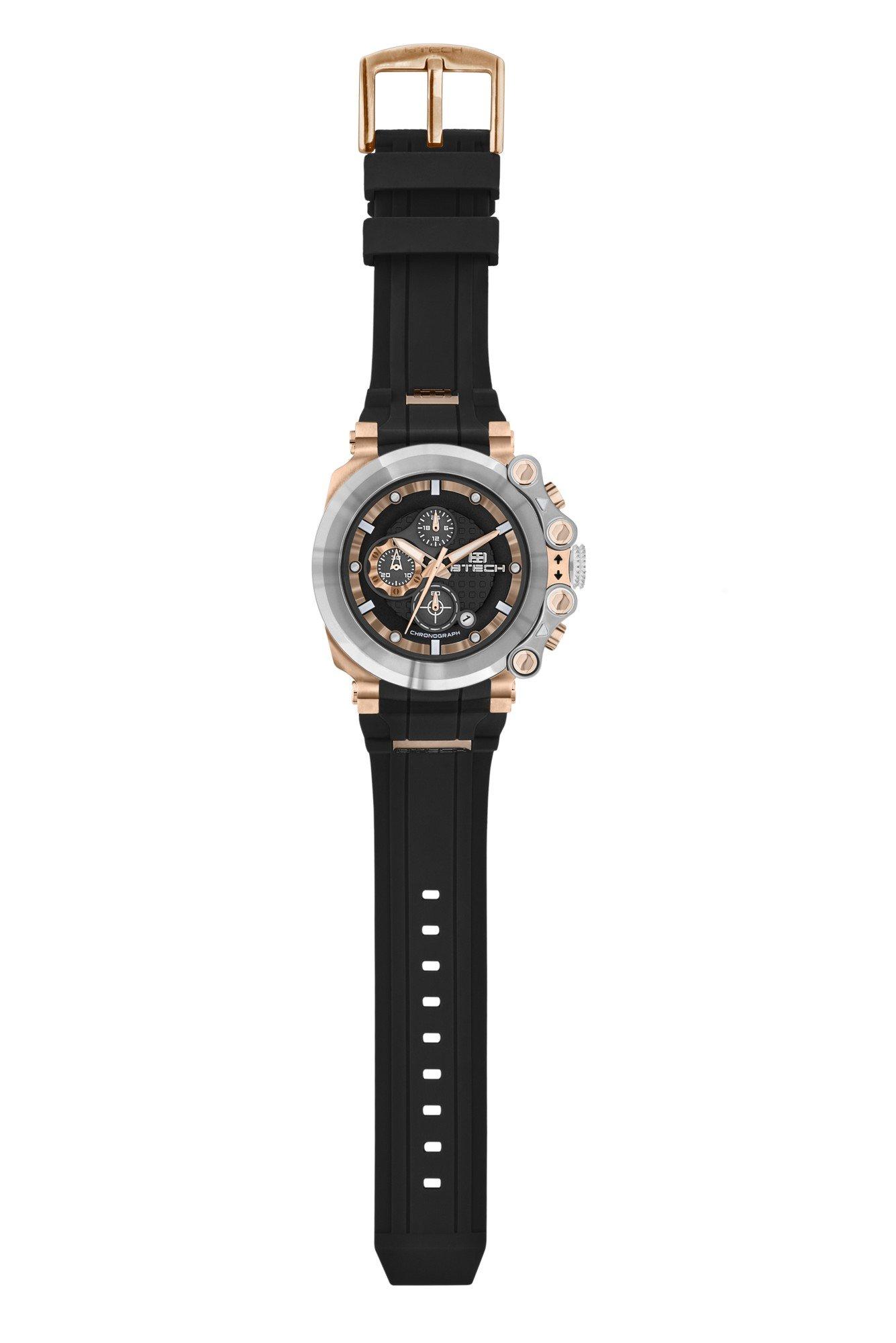 BTECH Unisex BT-CC-331-02 Cite Analog Chronograph Casual Wrist Watch Black Silicon Strap Band