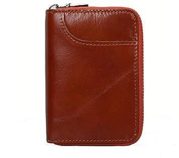 4acf4723e14 Tarjeteros para Tarjetas de Credito Mujer Hombre 12 Tarjetas Cartera Tarjetero  Piel RFID Bloqueo Monedero de Cuero Cremallera Billetera (Marrón)   Amazon.es  ...