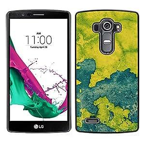 LECELL--Funda protectora / Cubierta / Piel For LG G4 -- Azul Mapa Pintura rústica Chipped Leaf --
