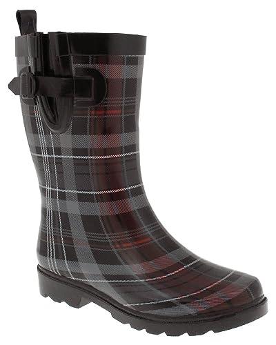 Amazoncom  Capelli New York Scottish Plaid Printed Ladies Short Rubber  Rain Boot Black Combo 6  Rain Footwear