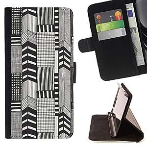 Momo Phone Case / Flip Funda de Cuero Case Cover - Abstracto blanco a cuadros pluma de tinta - LG Nexus 5 D820 D821