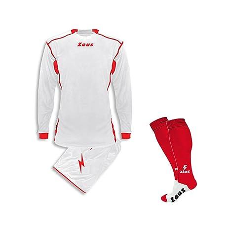 e0221fb3e2a10b Zeus Completino Kit Calcio Sparta COMPRESO di Calza Calcetto Allenamento ( Bianco-Rosso, XXS