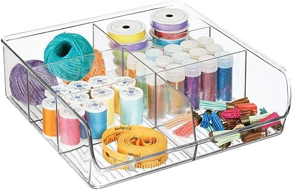 mDesign Organizador de cajones abierto para material de costura y artículos de mercería – Práctica caja organizadora con 6 compartimentos – Bandeja de plástico para cajones y armarios – transparente: Amazon.es: Hogar