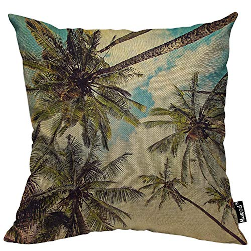 (Mugod Palm Tree Decorative Throw Pillow Cover Case Tropical Coconut Palms Blue Sky White Cloud Green Leaf Cotton Linen Pillow Cases Square Standard Cushion Covers for Couch Sofa Bed 18x18 Inch)