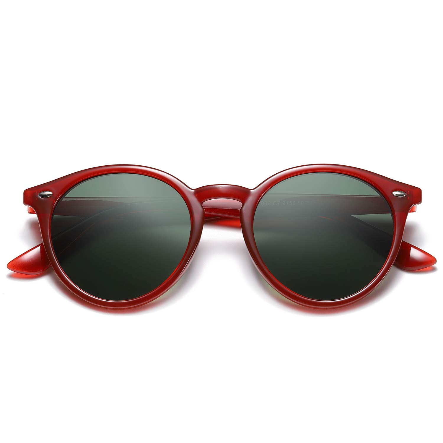 SOJOS Classic Round Polarized Sunglasses with Rivets UV400 Mirrored Lens SJ2069 with Crystal Red Frame/G15 Lens with Rivets by SOJOS