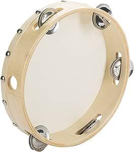 Tosnail 8 Wood Handheld Tambourine - Single Row 5 Pairs Jingles