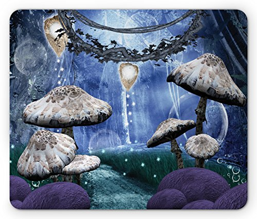 Trippy Mouse Pad by Ambesonne, Abstract Dreamlike Forest Scenery at Night with Mushrooms Pixie Dust and Bubbles, Standard Size Rectangle Non-Slip Rubber Mousepad, (Pixie Dust Decor)