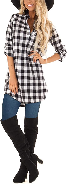 Women Casual Shirt Dress with Pockets