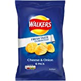 Walkers Cheese & Onion Flavour Crisps, 6 x 25g