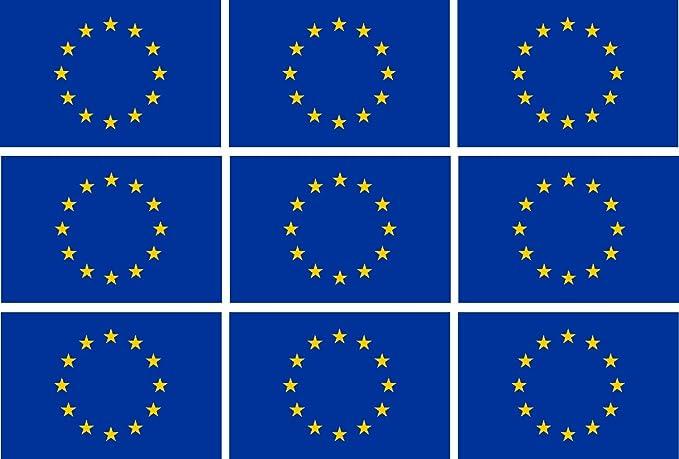Etaia 2 5x4 Cm Mini Aufkleber Set Fahne Flagge Von Europa 12 Sterne Kleine Eu Sticker Fürs Auto Motorrad Fahrrad Autoaufkleber Auto
