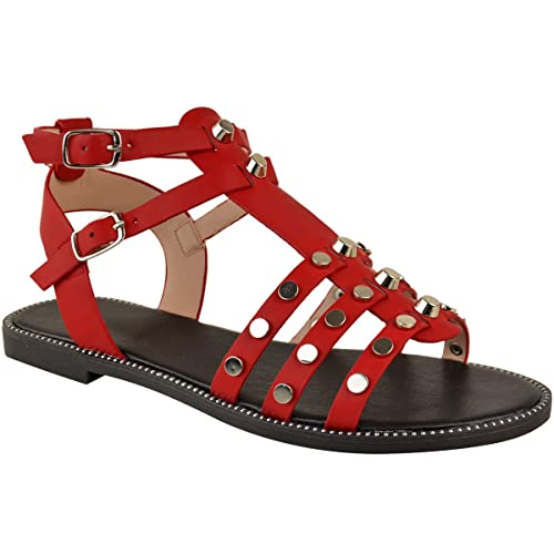 882bf56916c479 Fashion Thirsty Womens Flat Low Heel Studded Sandals Gladiator Strappy  Holiday Casual Size 5