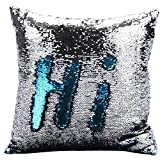 Haperlare 16 x 16 inch Blue Sequin Pillow Mermaid Pillow Reversible Sequins Mermaid Pillowcase Cushion Cover Lake Blue and Silver Insert not Included