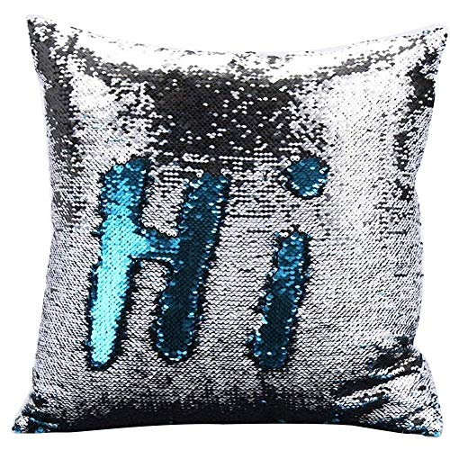 Haperlare 16 X 16 inch Blue Sequin Pillow Cover Mermaid Sequin Pillow Cover Reversible Sequin Pillow Case for Home Party Decorations Best Gifts Lake Blue and Silver Insert not Included