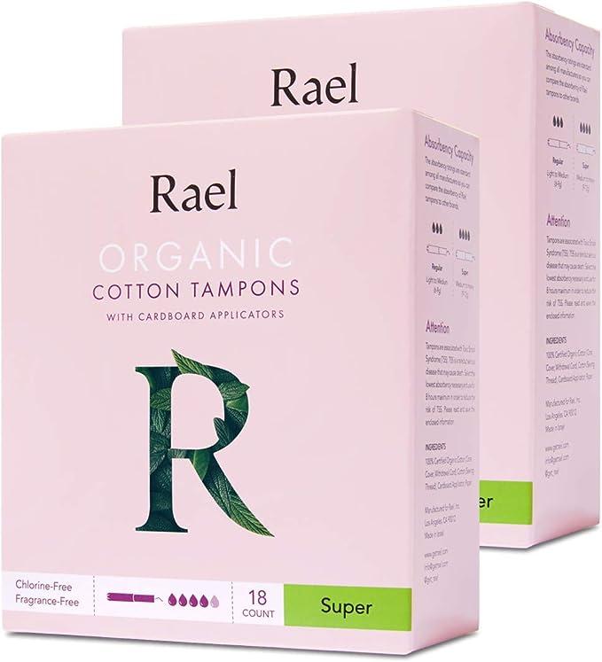Rael - Tampones 100% orgánicos, sin cloro, blanqueados con ...