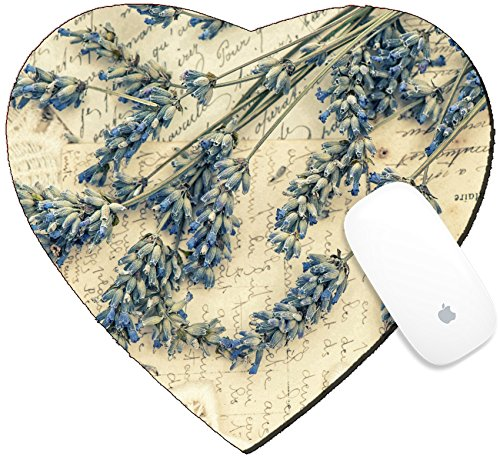 Luxlady Mousepad Heart Shaped Mouse Pads/Mat design IMAGE ID 31334091 dried lavender flowers and vintage love post cards nostalgic still life retro style toned pictu (Shaped Post Flower)