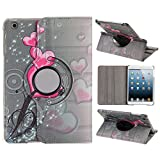 UZZO?Case for iPad Mini 3 - Cover for iPad Mini Case for ipad Mini with Retina Display Pink heart pattern Book style PU Leather 360 Rotating Case Cover for Apple iPad Mini 1 2 3 Retina Tablet Apple iPad Mini 7.9