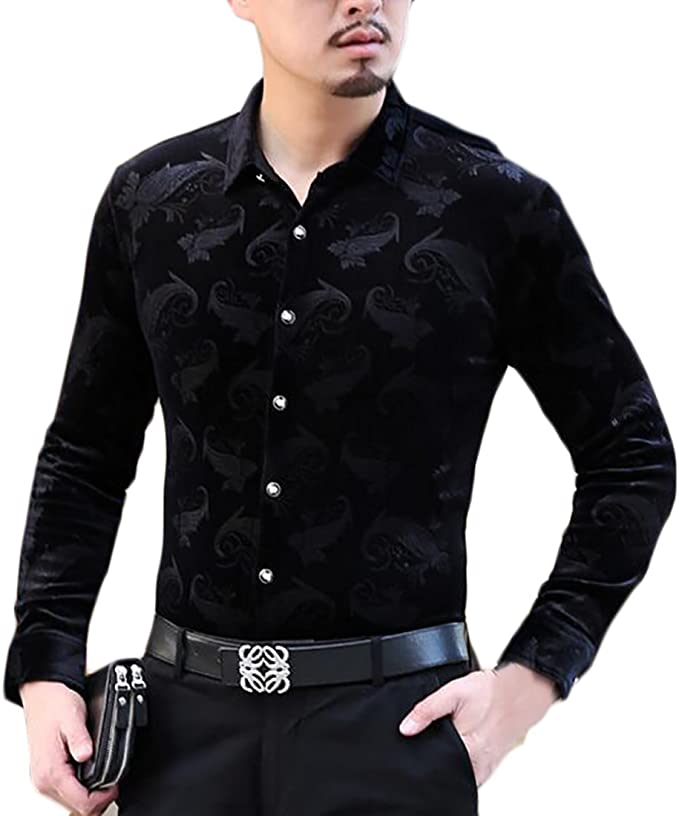 Ptyhk RG Mens Fashion Velvet Printed Long Sleeve Button Down Shirt