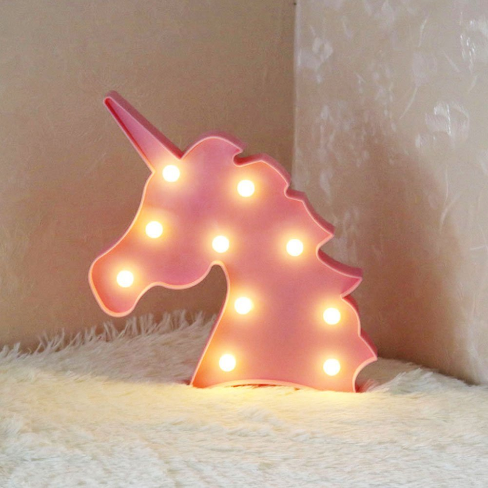 3D Flamingo LED Lámpara decorativa Marquee Signos Carta Flamingo Night Light Decoración de la pared para la sala de estar Dormitorio Home Christmas By Morkka (Unicornio Cabeza Rosa) [Clase de eficiencia energética A++]