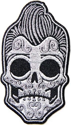 Elvis Sugar Skull Mohawk Old School Rockabilly Punk Rocks N Roll Rider Biker Jacket T-shirt Suit Patch Iron on Embroidered Applique Sign Badge Costume